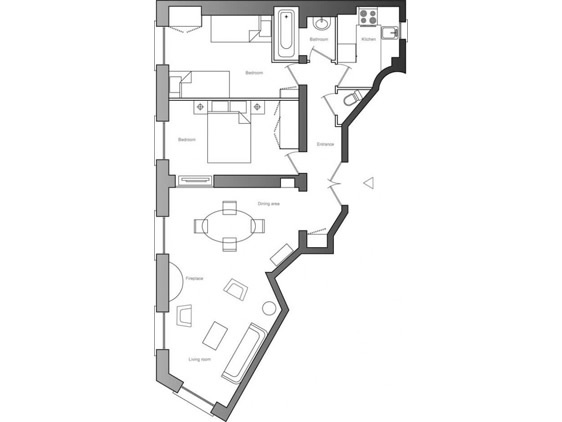 Floor plan of our Côtes du Rhône rental in Paris